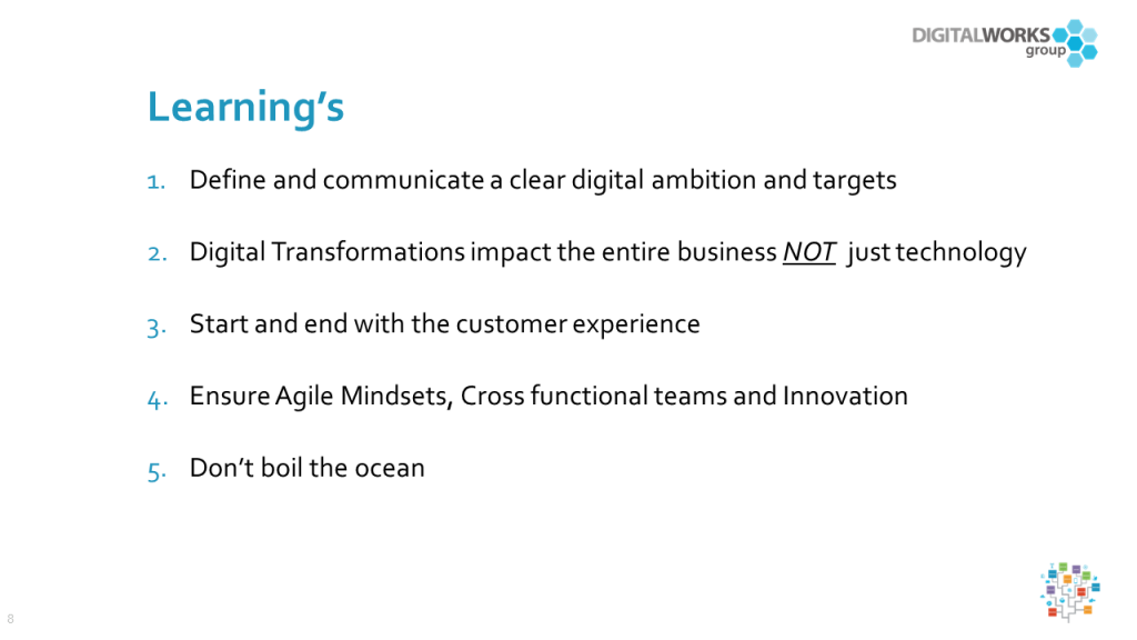 Retail transformation slide: key learnings